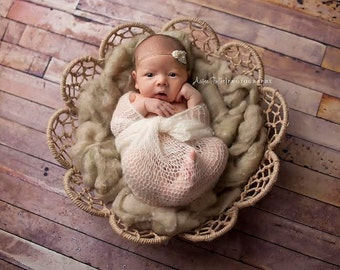 "MOHAIR BABY WRAP: 18"" X 30"",  off white baby wrap, stretch wrap, layering, baby photo prop, newborn photography prop, basket, bowl, scarf"