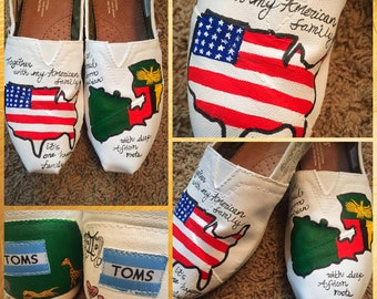 Custom painted Zimbabwe/USA Toms. Designed and personalized just for you!