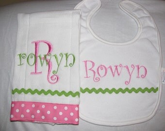 Pink and Green Personalized Embroidered Burp Cloth and Bib Set