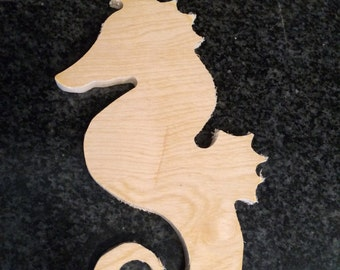 Unfinished Wooden Seahorse