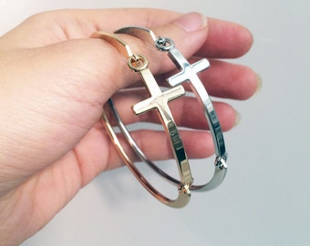Side cross bracelet in gold and silver plate (SILVER SOLD OUT)