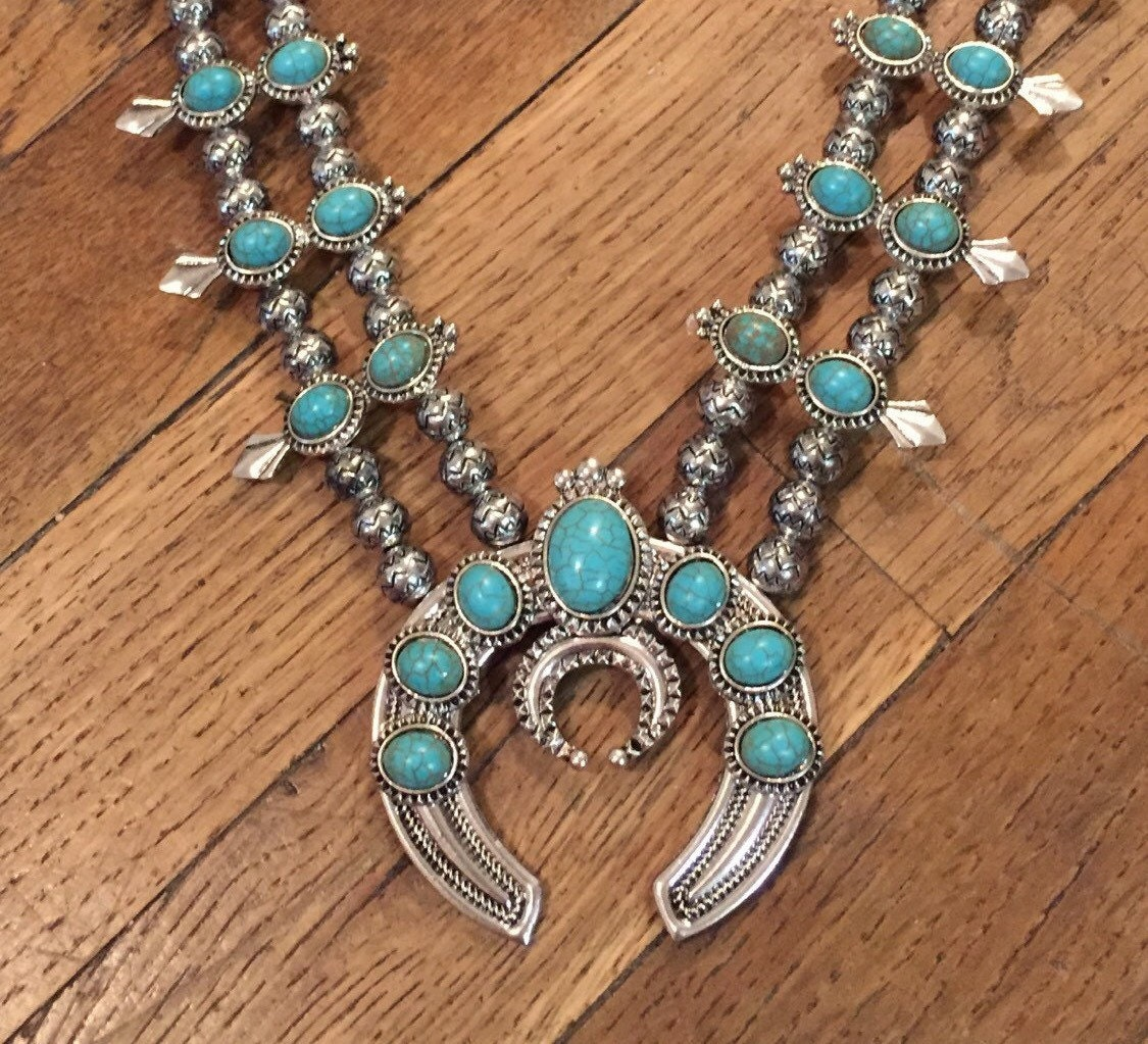 70s squash blossom necklace faux turquoise bohemian jewelry