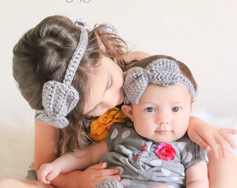 Crocheted bow headband, headband, girls accessory, photo prop, spring accessory, baby headband