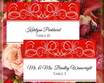 White Cherry Red Swirls Printable Tented Place Cards Wedding Editable Template DIY Instant Download Wedding Signage Scrolls Do It Yourself