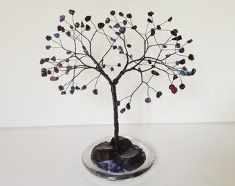Midnight Tree Sculpture. Blue & Black Gemstone Tree Sculpture. Wire Tree. Obsidian, Lapis Lazuli, Goldstone, Amethyst, Sodalite Apatite. T53