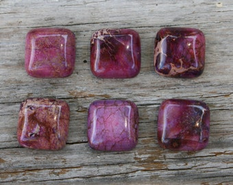 Purple Sea Sediment Jasper Square Cabochon - 17mm - Set of 2