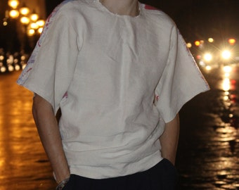 Tshirt sleeves Kimono in linen with bands of paintings