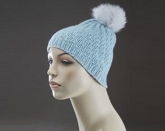 Pure Cashmere Hand Knit Hat with fox fur pom pom  - Light Blue -  One of a Kind - No mass production