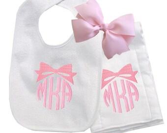 Pretty Bow Personalized Bib and Burp Cloth Set