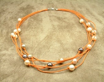 Necklace with Pearls in Orange Cord