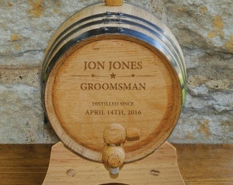 2 Liter Personalized Groomsmen Whiskey Barrels - Oak Whiskey or Bourbon Barrel - Groomsmen Gift - Gifts for Him - GC1434