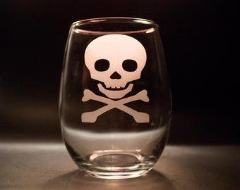 Halloween Skull Wine glass - Halloween Wine Glasses - Halloween Party Cups - Skull and Crossbones Glass - Halloween Wedding Glasses