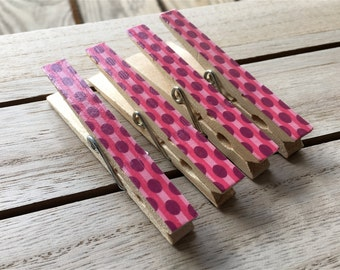 Pink and Purple Magnets, Dotted Clothespin Magnets, Decorated Clothespins, Patterned Magnets, Pink Organizing Clips, Polka Dot Fridge Magnet