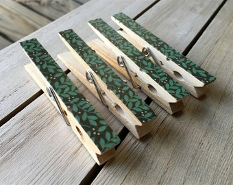 Green and Brown Clothespin Magnets, Leaf Magnets, Decorated Fridge Clips, Nature Magnets, Green Fridge Magnets