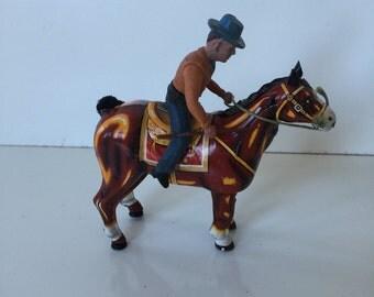 Vintage Mikuni Tin Horse With Cowboy