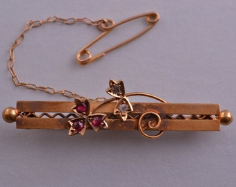 15ct Gold Edwardian Brooch With Rubies And Diamonds (329n)
