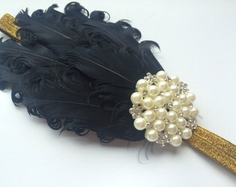 Gold 1920s Headband - Gold Flapper Headpiece - Black Feather 1930s Headband - Black Feather Head Band for Women - Roaring 20s Headband