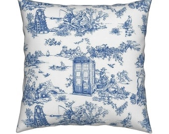 Doctor Who Daleks with Tardis; blue and white toile pillow COVER ONLY 16x16inch