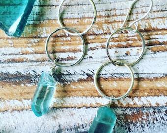Double hoop SS earrings with blue quartz