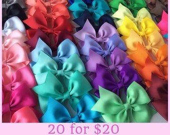 "3.5"" Solid Color Half Pinwheel Bows, Set of 20 Hair Bows, Pick your colors, Dollar Bows"