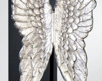 Big sculpture of silvery wings, for decoration, height 23.6 inches