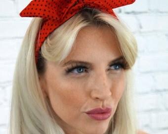 Red Spot Retro Rockabilly Pin up girl style Headband