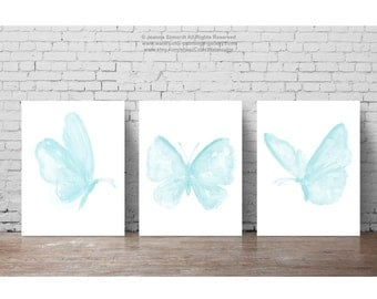 Baby Blue Butterfly set 3 Butterflies Watercolor Painting, Boys Nursery Room Art Print, Minimalist Childrens Wall Decor Animal Illustration