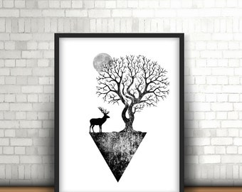Black and white Abstract Poster, Digital Download, Scandinavian Design, Geometric Minimalist Print, Abstract Wall Art *8*