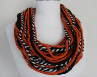 Orange Black Scarf, Necklace Scarf, Chain Scarf, Necklace Rope Scarf Accessory Fashion Scarf Statement Necklace Halloween Scarf, Scarf Angel