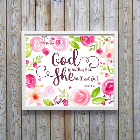Christian Wall Decor For Nursery : Christian wall art nursery decor girl bible verse print