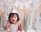 Winter ONEderland package, high chair banner, snowflake party hat, onederland theme, onederland decorations, winter onderland theme, gold