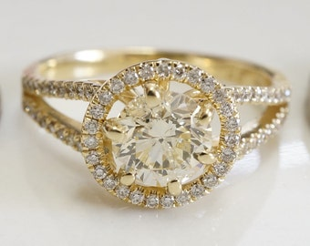 Diamond Ring 1.40 ct-Engagement ring-Promised ring-Yellow gold 14 k-Bridal Jeweler- Wedding & Engagement-Anniversery ring-Multistones ring