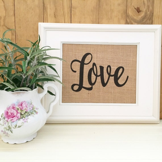 Love Decor Signs: Burlap Print Live Laugh Love Rustic Home Decor By