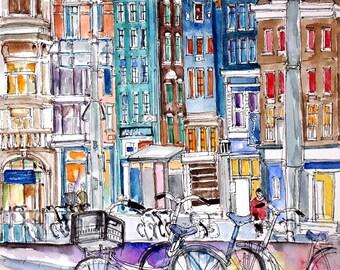 Amsterdam. Netherlands. Unique  beautiful architecture. Original watercolor.