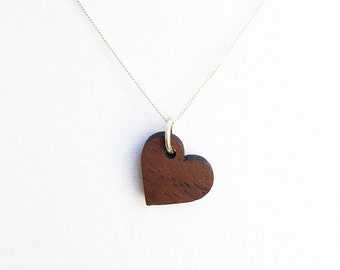 Wood Heart Pendant - Delicate Wood Jewelry - Wood Necklace - 5 Year Anniversary Necklace - Heart necklace