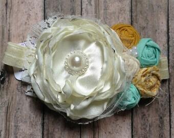 Ivory Satin Vintage Headband, Mint and Mustard baby headband, Mint green headband, Mustard baby headband, pearl and vintage lace headband