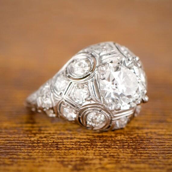 2 21ct Antique Edwardian Engagement Ring Circa 1910
