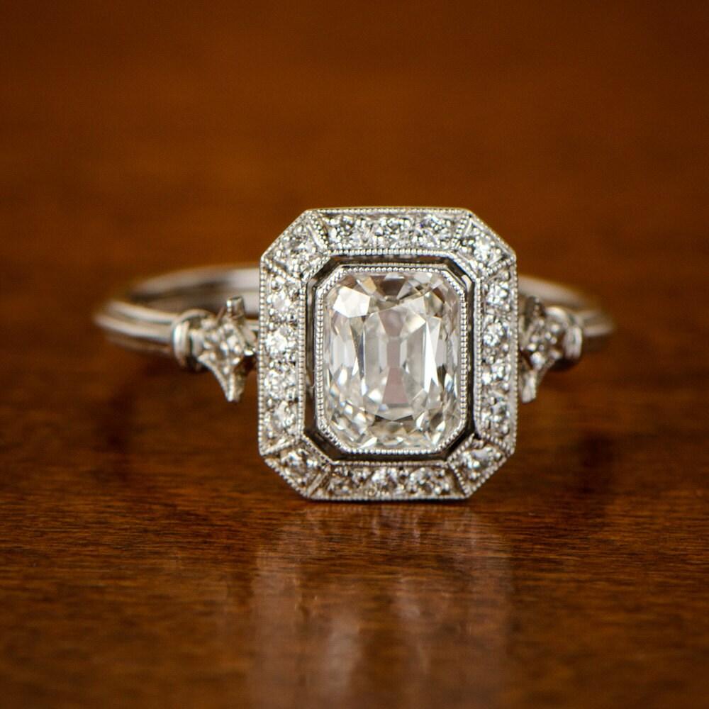Vintage Style Engagement Ring Emerald Cut Diamond 1 10ct