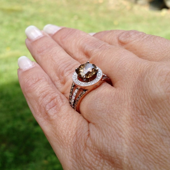 chocolate wedding rings 2 carat 8 mm brown engagement ring floating halo 2917