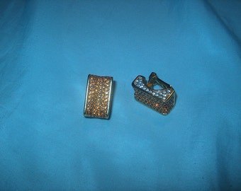 Vintage Costume Jewelry Crystal Clipback Earrings, Amber & Clear Crystals, WAS 15.00 - 50% = 7.50