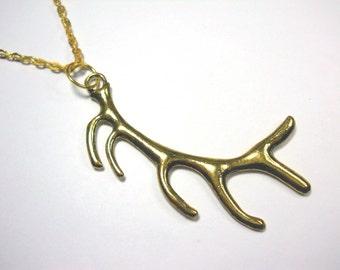 Deer Antler, Antique Gold Tone, Men's Necklace, Women's Necklace, Antique Gold Tone Flat Link Chain