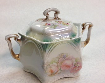 Unmarked R.S. Germany Large Porcelain Tea Caddy/Sugar Bowl with Lid C.1890-1900
