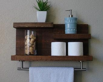 "Modern Rustic 3 Tier Bathroom Shelf with 18"" Satin Nickel Finish Towel Bar"