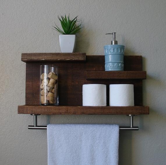 modern rustic 3 tier bathroom shelf with 18 satin nickel. Black Bedroom Furniture Sets. Home Design Ideas