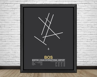 Boston Logan International Airport (BOS) Boston Massachussets, Minimalist Style Airport Runway Prints with Airport Facts