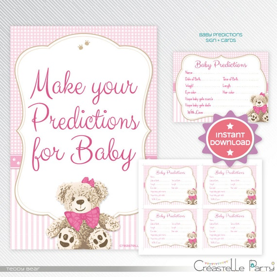 Pink Teddy Bear Baby Shower: Pink Teddy Bear Predictions Baby Shower Game Printable
