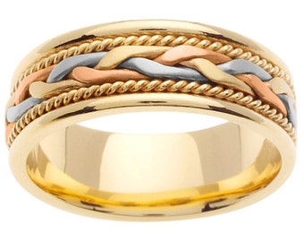 14K Tri Color Hand Braided Cord Wedding Ring Band