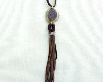 Antler Slice- Boho Braided Leather Necklace with Tassel