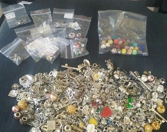 HUGE Lot Over 500 European Dangle Rhinestone Ect Charms