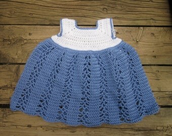 Crochet Ribbons and Lace Baby Dress - 3-6mths